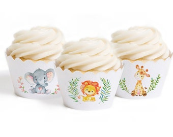 Jungle Animal Cupcake wrappers, Children's Birthday Party, Jungle Party, Animal Party, Wild One, Instant Printable Download PDF Files