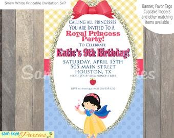 Snow White Inspired Birthday Party Invitation, Princess Birthdays, Showers DIY Printable File