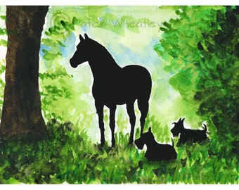 Scottie Dogs & Friesian Horse   Watercolour soft textured Paper Art Print Scottish Terriers