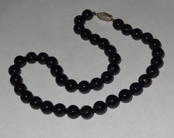 Oversized 10 mm Black Onyx Bead Necklace 18 Inches