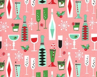 Holiday Party by Michael Miller Fabrics Pink Retro Fabric Holiday Fabric Christmas Quilt Christmas Cocktail Fabric Party Fabric