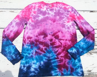 Purple Haze // Pink, Purple, Amethyst, Turquoise, Aquamarine, Indigo // Marbled Tie Dye Long Sleeve Tee