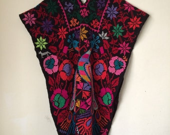VTG 70's  Rare Awesome South American Hand Embroidered Poncho