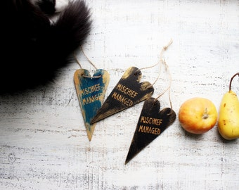 Mischief managed Halloween party supply guest favors heart ornaments wooden Christmas ornaments Harry Potter