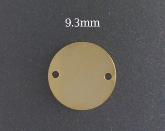 10pcs Gold Filled Stamping Blank Disc connector links Round 9.3mm - gold stamping blanks disc connectors links to personalize Jewelry