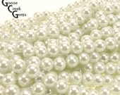 8mm White Glass Pearls- 13.5 inch strand