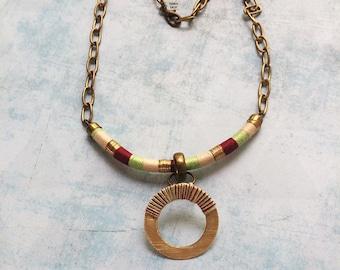 Wrap bib necklace - tribal style -ethnic - locket necklace -multicolor necklace