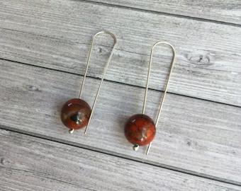 Silver hook earrings - Long earrings -red obsidian- earrings ball -minimal earrings-gift for her - orb jewelry- minimalist jewellery - drop