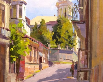 Oil City Painting, Colorful cityscape painting on canvas, Town Art by Yuri Pysar