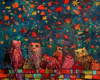 October Cats  Stretched Canvas Art Print / signed by artist Size 12/12