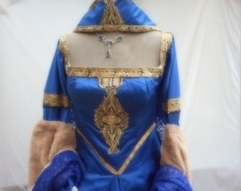 Custom made Medieval gown/headress has detachable oversleeves & hooped petticote Anne Bolyne Tudor queen fairy princess stage party banquet