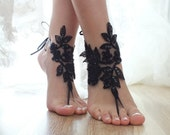 Black ivory or hite Barefoot Sandals, french lace, Nude shoes, Gothic, Foot jewelry,Wedding,  Sexy, Yoga, Anklet , Belly Dance