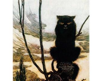 Black Cat Fabric - Halloween Fabric Block - Arthur Rackham Repro Vintage Style