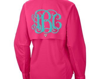 Monogrammed PFG Long Sleeve Fishing ,Bathing Suit cover up