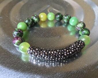 Bracelet, Ruby Zoisite & Hematite pave bar