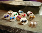 Ear studs, post earrings, stud earrings, polymer clay and silver, tiny, small, simple, colour, single pair or set, minimal, everyday