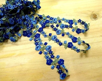 """DN712-  1 """"  Blue  Embroidered  Tulle Mesh Lace /Bridal/Lolita/ Trim by Yard"""