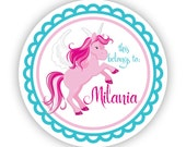 Kids Name Label Stickers - Turquoise Unicorn, Pink Unicorn Personalized Name Tag Sticker, This Belongs To Tag - Back to School Name Labels