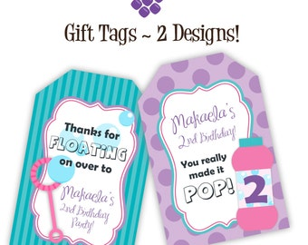 Bubble Party Gift Tags - Purple Polka Dots, Turquoise Stripes, Pink Bubbles Personalized Birthday Party Gift Tags - A Digital Printable File