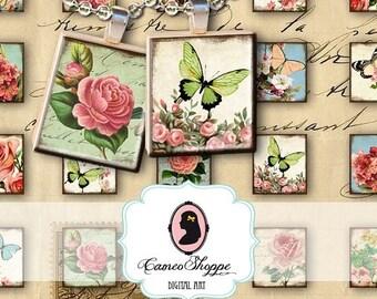 75% OFF SALE SCRABBLE Butterfly and Flower Digital Collage Sheet Scrabble image size Digital pendants scrapbooking Digital Download