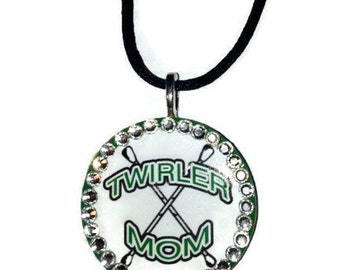 Majorette Mom Twirler Mom Crossed-Bantons Necklace Personalized  Customized Blinged Out  With Rhinestones