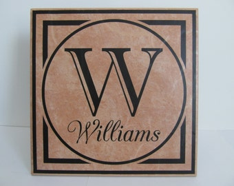 Family name and initial personalized decorative tile 12x12