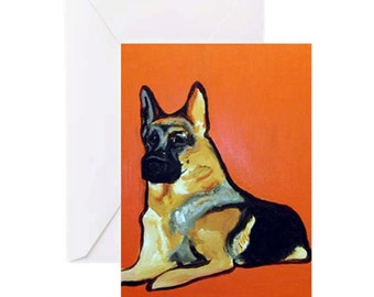 German Shepherd Dog - 4 Greeting Cards By Artist A.V.Apostle