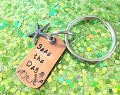 Seas the Day Copper Key Ring with Starfish