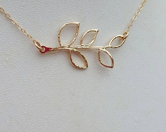 Gold Olive Branch Necklace, 14k Gold Olive Branch Necklace, Gold Branch Necklace, 14k Gold Branch Necklace, Donna J Jewelry