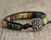 Cube bead single wrap bracelet. Beaded colorful bohemian chic jewelry