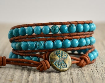 Hippie style bracelet. Turquoise leather wrap bracelet