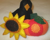 HARVEST TRIO Bowl Fillers Set of Three Crow Sunflower Pumpkin Home Cottage Holiday Decor Gift Hostess Item Summer Fall
