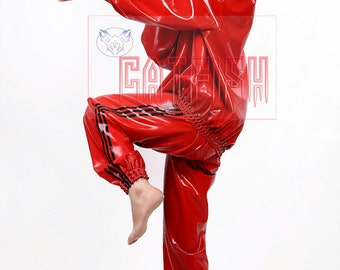 Slick Tracksuit Women Latex Jacket and Trousers