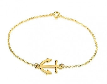 24K Gold Plated Sterling Silver  Anchor Bracelet