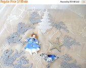 50% OFF SALE Lot of Silver and Blue Ornaments for Decorating or Crafting, Angel, Tree, Star, Reindeer, Bird