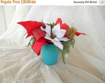 50% OFF SALE Red and White Poinsettias Floral Arrangement, Teal Pot, Red Ribbon, Gold Faux Pine Cones, Christmas Decor, Holiday Decor