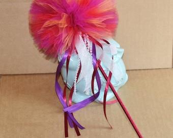 Tulle Pom Pom Wand,  Flower Girl Wand, Flower Girl Bouquet, Bridesmaids Bouquet Wands