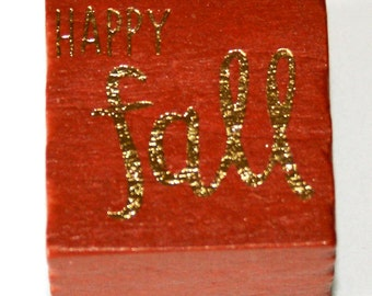 Happy Fall Rubber Stamp