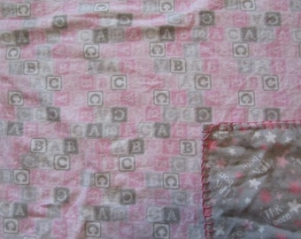 Girly Pink/Gray ABC Blocks/A Star is Born  Double-sided Flannel Baby/Todddler Blanket