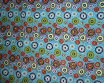 Blue with Multicolr Medallion/Circle/Flower Cotton Fabric by the Yard