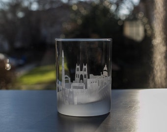 Etched Washington D.C Skyline Silhouette Outline Whiskey Rocks Glasses