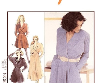 Style Dress Pattern 1950 - Misses' Wrap Front One-Piece Culotte-Dresses in Two Lengths - Sz 6 thru 16