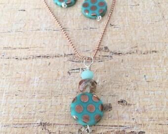 Polka dot rose gold necklace set