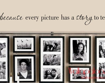 Family Wall Decal - because every picture has a story to tell - Family Room Decal - Family wall decal
