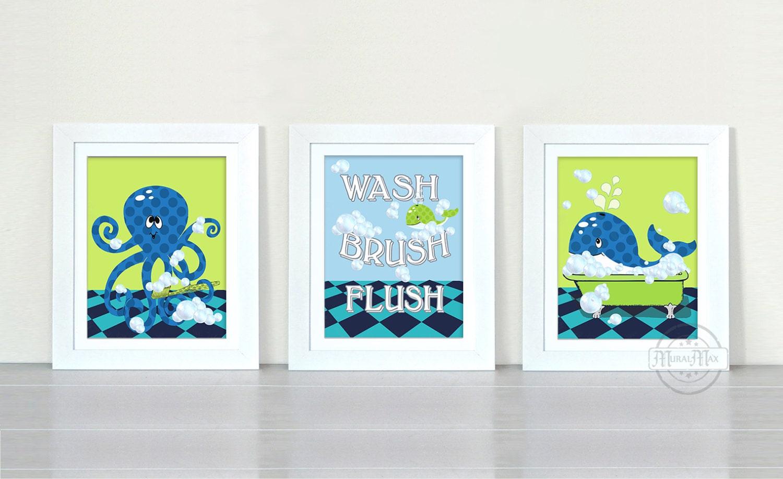 For Nautical Bathroom Art: Nautical Bath Rules Prints Kids Bathroom Art Nautical By