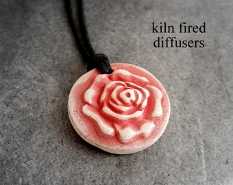 3D Aromatherapy Essential Oil Diffuser Necklace Pendant White Clay Healing Unglazed Textured Floral Botanical Rose Nature Jewelry Yoga Gift