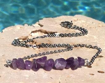 Natural amethyst bar necklace