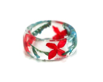 Real flower resin ring - resin ring -eco resin ring - real flower jewelry