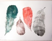 Feathers painting original/ Watercolor art/ Feather painting/ Feather wall art/ Teal gray feather illustration/ Home decor/ Art lover gift