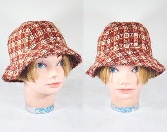 Vintage 60's Wool Bucket Hat Unique Checker Pattern